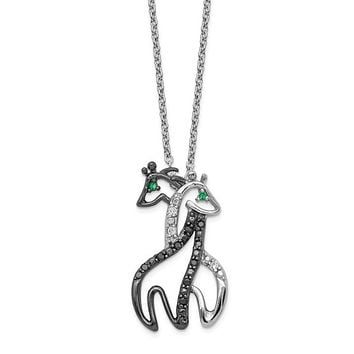 Cheryl M Sterling Silver CZ Black & White Giraffes Necklace