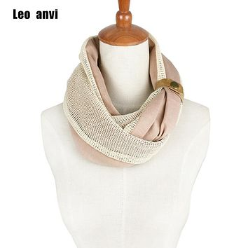 Leo anvi fashion winter lace infinity scarf men women's luxury brand leather cuff Tube cotton loop Scarves adult bandana