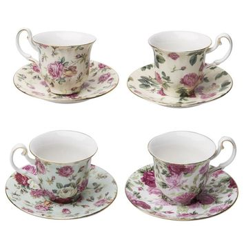 Gracie China Rose Chintz Porcelain Espresso Cup & Saucer 3-Ounce Set of 4 Assorted with Gold Trim