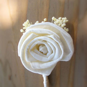 Mens Boutonniere Custom Made Wedding Floral with Sola Flowers