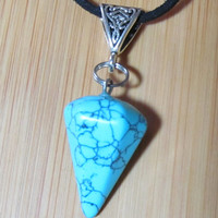 Blue Crackle Natural Gemstone Pendulum Necklace