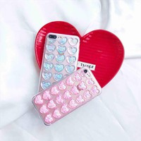 MUXMA Coque For iPhone 8 Plus Case Glitter 3D Loving Hearts Back Cover Soft Silicone Transparent Phone Cases For Apple iPhone 8