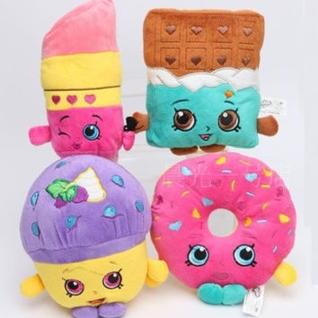4pcs Shopkins Mini Muffin Doughnut Lipstick Chocolate Plush Toy Stuffed Doll Set = 5658090817