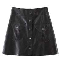Black High Waist Button Up PU A-line Skirt