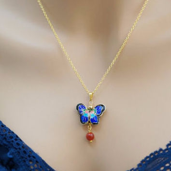 Cloisonne Butterfly Necklace - Gold Tiny Blue Butterfly Pendant USA