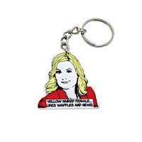 Leslie Knope keychain - waffles quote