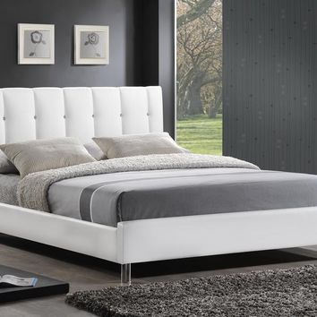 Baxton Studio Vino White Modern Bed with Upholstered Headboard - Queen Size  Set of