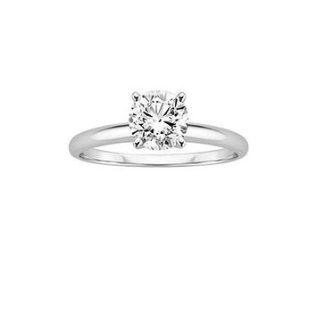 10K White Gold Ethically Mined 1CT Round Cut Solitaire Diamond Engagement Ring