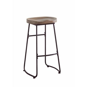 Antique Wood And Metal Bar Stool with Saddle Seat, Brown And Black By Coaster