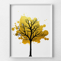 Tree Wall Art, Faux Gold Foil, Gold Art, Gold Foil Print, Modern Decor, Modern Art Print, Nature Art Print, Tree Artwork, Minimalist Art