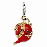 925 Sterling Silver 3D Red Enameled Chinese Tea Pot Dangling Charm