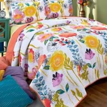 Watercolor Reversible Quilt Floral Flower Colorful Bedroom Spring Home Decor