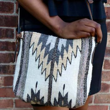 Natural Stone Chevron Crossbody Bag Purse