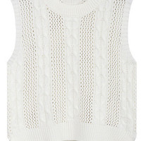 White Sleeveless Cutout Detail High Low Knit Tee