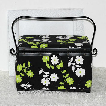 Large Sewing Basket with Metal Handle | Green Black White Floral Cloth Covered Tote | Tray and Pincushion | Craft Basket | Sewing Storage