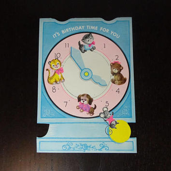 "Vintage Unused Happy Birthday Greeting Card - ""It's Birthday Time For You"" - Clock with Baby Animals - New Old Stock"