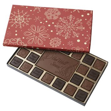 Beige Mahogany Snowflakes 45 Piece Chocolate Box