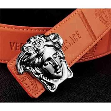 VERSACE Fashion Smooth Buckle Belt Leather Belt Orange I