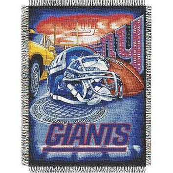 New York NY Giants Home Field Advantage 46x60 Woven Tapestry Throw
