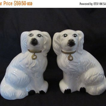 HOLIDAY SALE Mid Century Staffordshire Statue Dog Figurines // Porcelain Dog Figures // Glass Dog Collectibles // Dog Book Ends