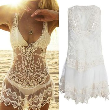 New Arrival Woman Summer Fashion Sexy Women Bathing Suit Lace Hollow Crochet Bikini Cover Up Swimwear