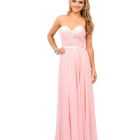 Blush Pink Chiffon Strapless Sweetheart Corset Long Gown