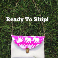 Ready To Ship! Custom Lilly Pulitzer Tusk In Sun Elephant Envelope Clutch Crossbody Purse