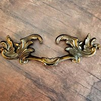 French Provincial Pulls KBC French Vintage Furniture Antiqued Brass Drawer Pulls Baroque Dresser Hardware Gold Cabinet Drawer Pull Handles