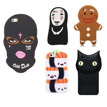 3D Soft Silicone Cover for iphone X 6 6s 7 8 Plus 5 5s se Black Dark Face Mask Cat Sushi Back Phone Case