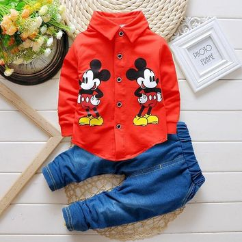 2016 new Spring autumn Kids mickey mouse Clothing Sets baby Boys clothes Child Fashion Gentleman long sleeve t shirt +jeans suit