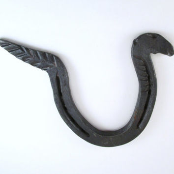 Forged Horseshoe Snake, Iron Rattlesnake, Horseshoe Serpent, Hand Forged Horseshoe Decor, Horseshoe Art, Western Wall Decor, Sea Serpent