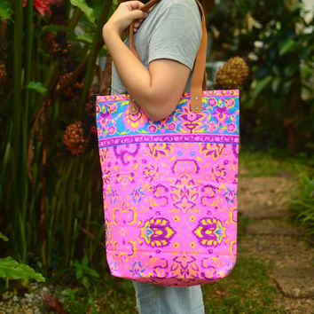 Tote Canvas Bag Tote Paint bag Printed Tribal bag Vivid Tote bag Hippie bag Weekender bag, Beach bag, Boho Bag, Beach Tote, Summer, Purse