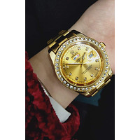 Rolex trend diamond men and women calendar quartz watch Gold