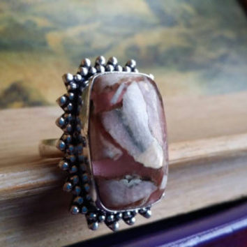 Rhodonite Ring Statement Ring Sterling Ring 925 Silver Ring Size 8 1/4 Ring Gemstone Ring Cushion Ring Cocktail Ring Oversized  Ring