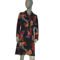 Brown Floral Vintage Dress, Long Sleeves, Front Buttons, Warm Dress, Winter Dress, Feminine Dress