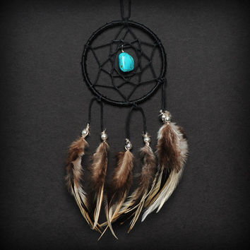 Black Turquoise Stone Car Mirror Dream Catcher, Small dreamcatcher, Tiny Dream Catcher, Small Black Dreamcatcher, Car Dreamcatcher Gift