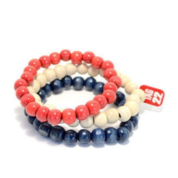 3 Pack Red White and Blue Bracelet