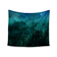 "888 Design ""Forest Night"" Green Digital Wall Tapestry"