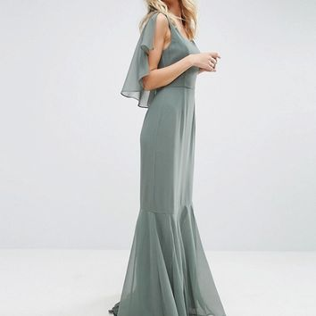 ASOS Cape 30's Seamed Fish Tail Maxi Dress at asos.com