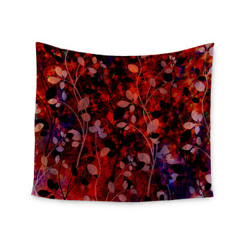 "Ebi Emporium ""Amongst the Flowers - Summer Nights"" Red Black Wall Tapestry"