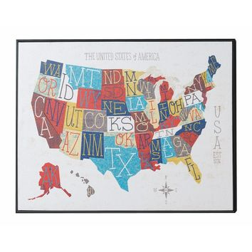 50 States (United States of America) Map Wall Art