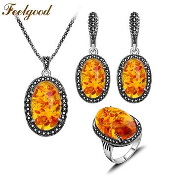 Feelgood Jewellery Set Vintage Silver Color Fashion Oval Pendant Necklace Earrings Ring Jewelry Sets Women Party Birthday Gift