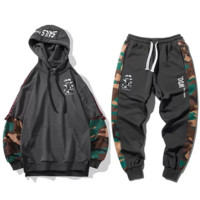 Bape Aape New fashion letter print camouflage men hooded long sleeve sweater top and pants two piece suit Gray