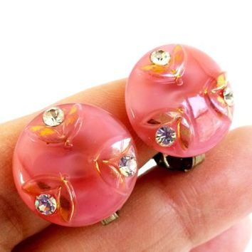 """Vtg Pink Satin Glass Clear Rhinestone Floral Button Clip Earrings Small 15/16"""""""