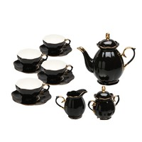 Grace Teaware 11-Piece Porcelain Tea Set (Black Gold)