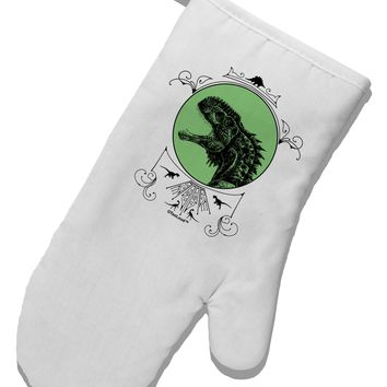 Jurassic Dinosaur Face White Printed Fabric Oven Mitt by TooLoud