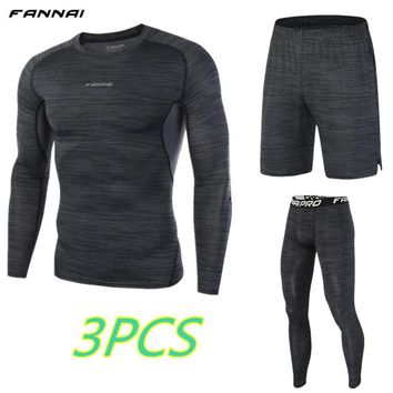 FANNAI brand Mens Run jogging Sportswear suit Sports Set t shirt,leggings,shorts Gym outdoor workout Tights clothing 3pcs/Sets