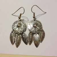 Navajo Sterling Earrings Concho Shield Feather Silver 925 Vintage Tribal Southwestern Jewelry Birthday Valentine's Mother's Gift Anniversary