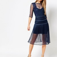 Body Frock Louisa Sculpting Dress with Pleat Skirt and Lace at asos.com