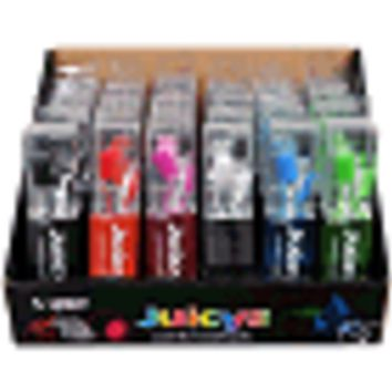 (24-Pack) VIBE Juicys Comfort Earbud Stereo Headphones - Six Colors in Retail Packages in a Point of Sale Display Box
